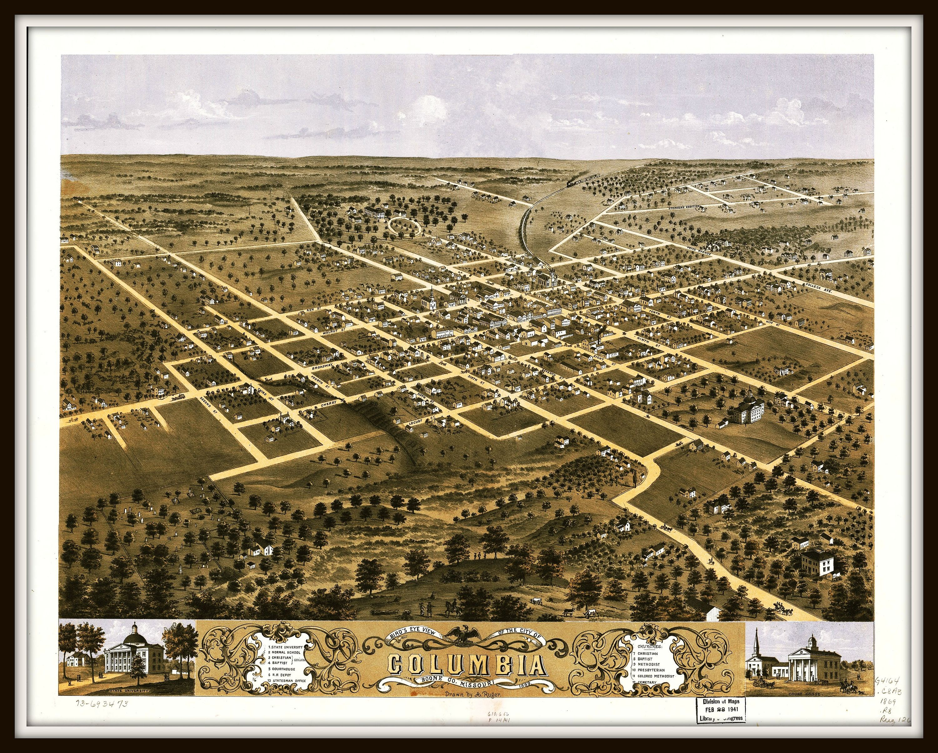 Columbia Mo Panoramic Map Dated 1869 Missouri Vintage Map