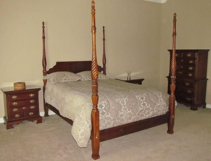 Lexington Furniture Company Cherry Bedroom Suite: Rice Bed, (2 ...