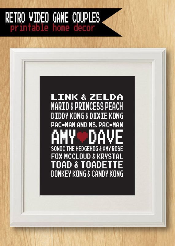 retro video game famous couples personalized wedding or anniversary gift digital printable file
