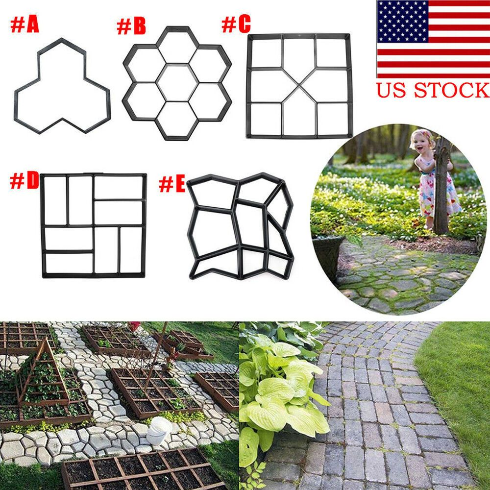 A Watter Mix Of Concrete For Concrete Golden Molds Is Used To Get Garden Stepping Stones With Ground Lo Garden Tools Decor Garden Paving Stepping Stone Paths