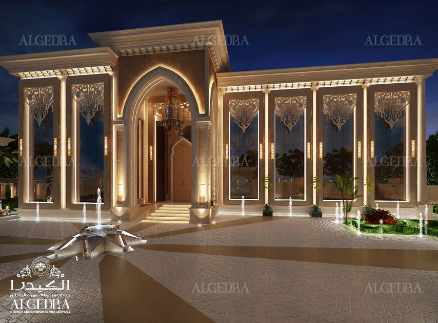 Beautiful palace exterior 3d interrior perspective for Exterieur villa design