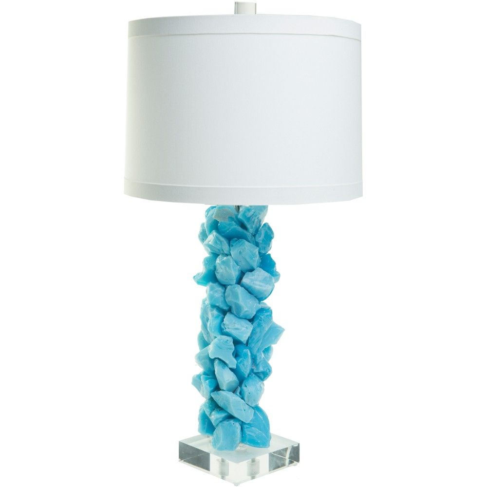The Slag Gl Lamp In Teal Is An Artful Arrangement Of Beautiful Chunks This Available With Or Without A Round Banded Oyster Pongee