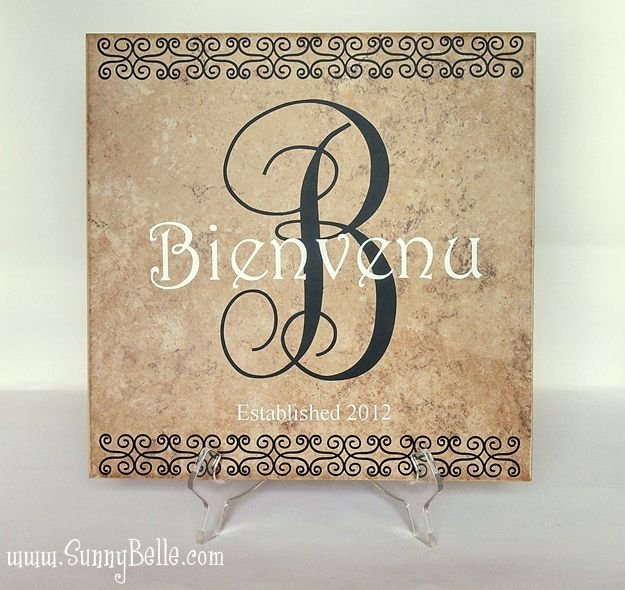 Personalized Ceramic Name Tile with Script Monogram and Scroll Work ...