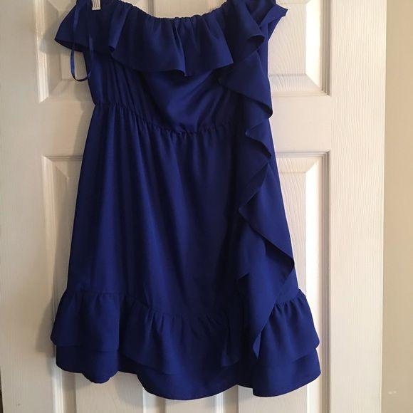 Royal ruffle dress Arden B Royal Blue Ruffle Dress Arden B Dresses Strapless