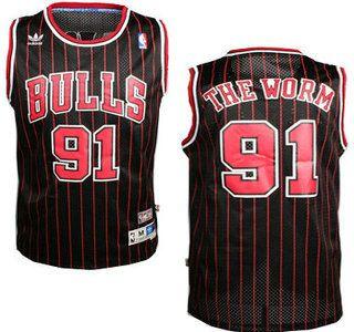 35beb8ca3f7 Chicago Bulls Jersey  91 Dennis Rodman The Worm Swingman Nickname Black  Jerseys