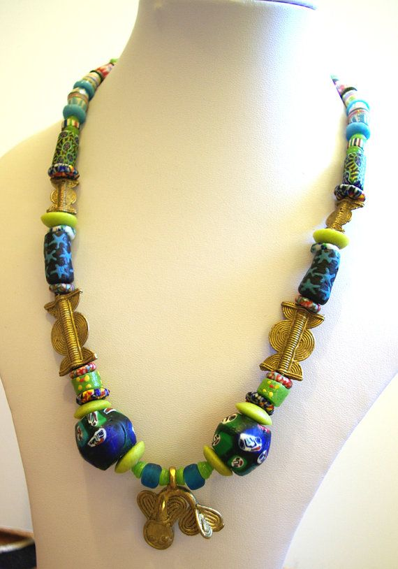 Chunky boho necklace made from african beads tribal brass fish chunky boho necklace made from african beads tribal brass fish pendant beads with faces old trade beads recycled glass from west africa aloadofball Gallery
