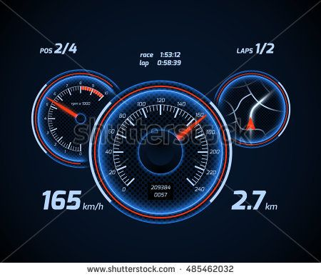 Racing car computer and app smartphone game dashboard with