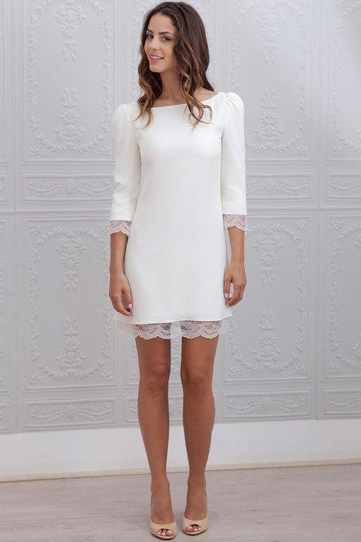 d62838edfee8e Robe mariage civil Marie Laporte   robe blanche manches longues ...