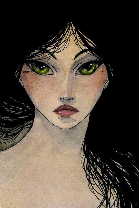 Green Eyes - 4 x 6 Original Painting - ink and watercolor by Renee Nault