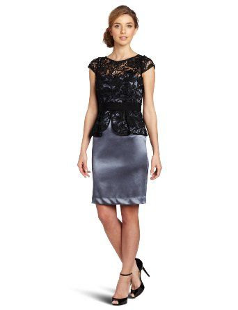 Adrianna Papell Women's Lace Bodice Dress: Clothing