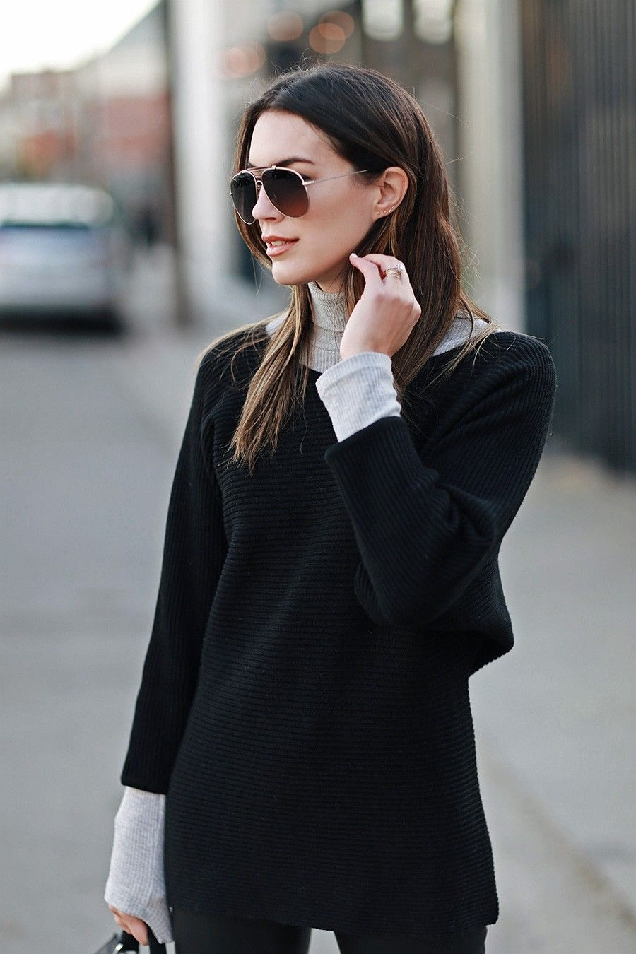 Contrast Turtleneck | Grey turtleneck, Gray and Chilly weather