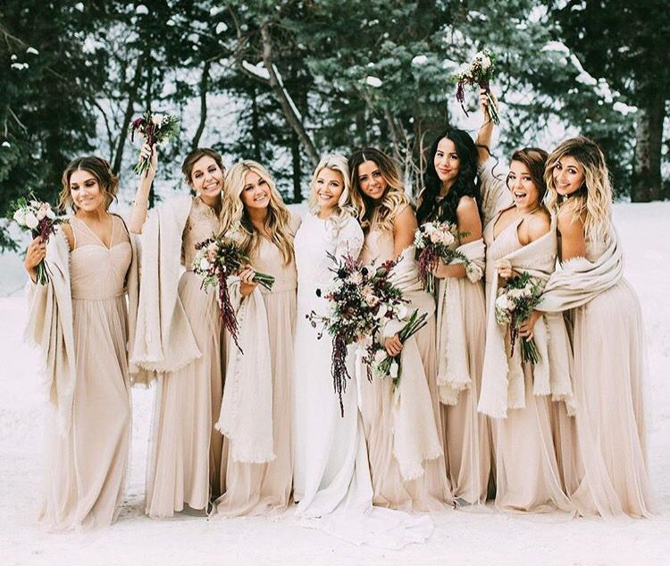 83158a6e3eee Discover ideas about Champagne Colored Bridesmaid Dresses. 17 Unique Winter  Wedding Color ...