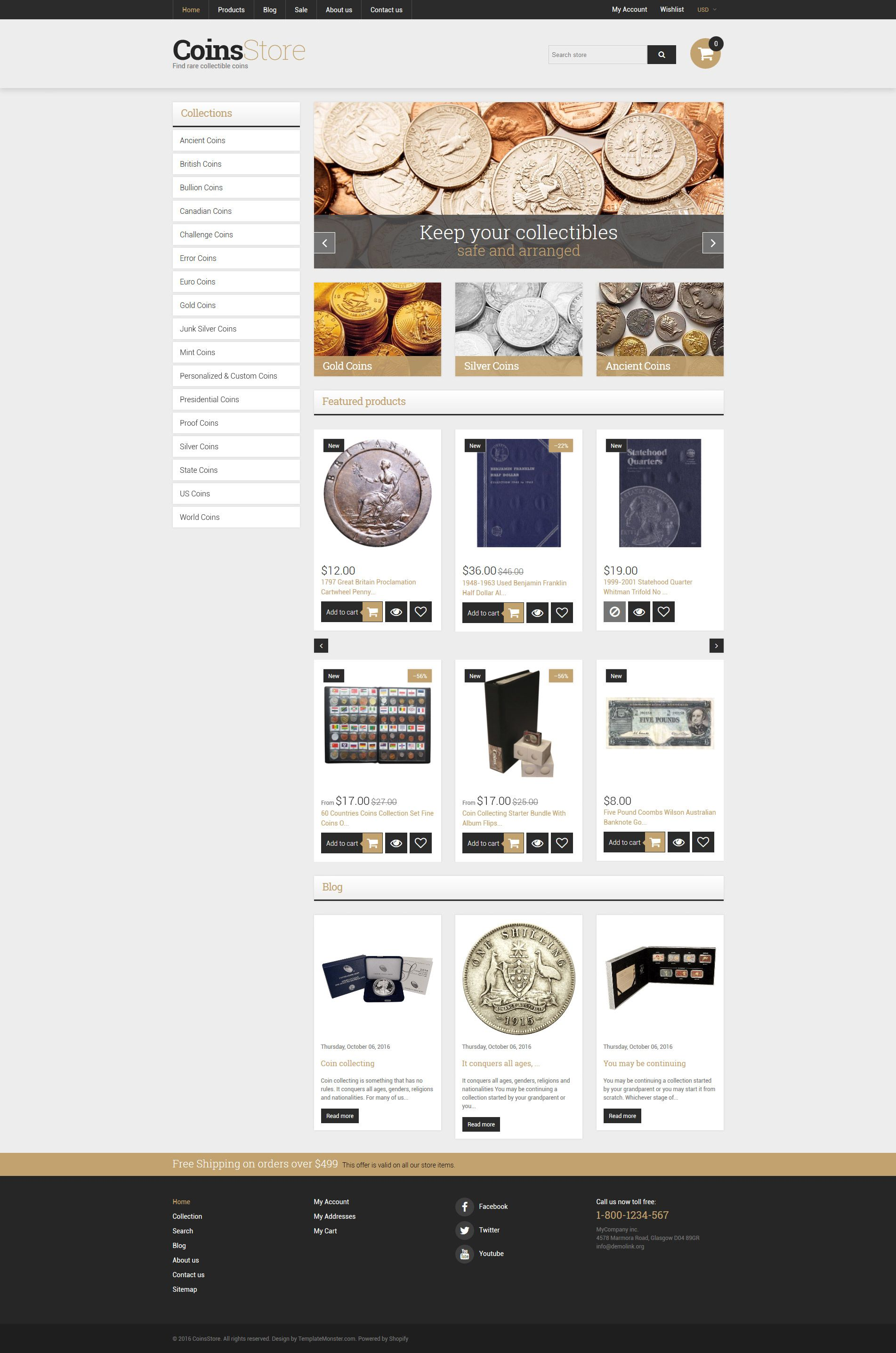 Collectible Coins Supplies Shopify Theme New Website Templates