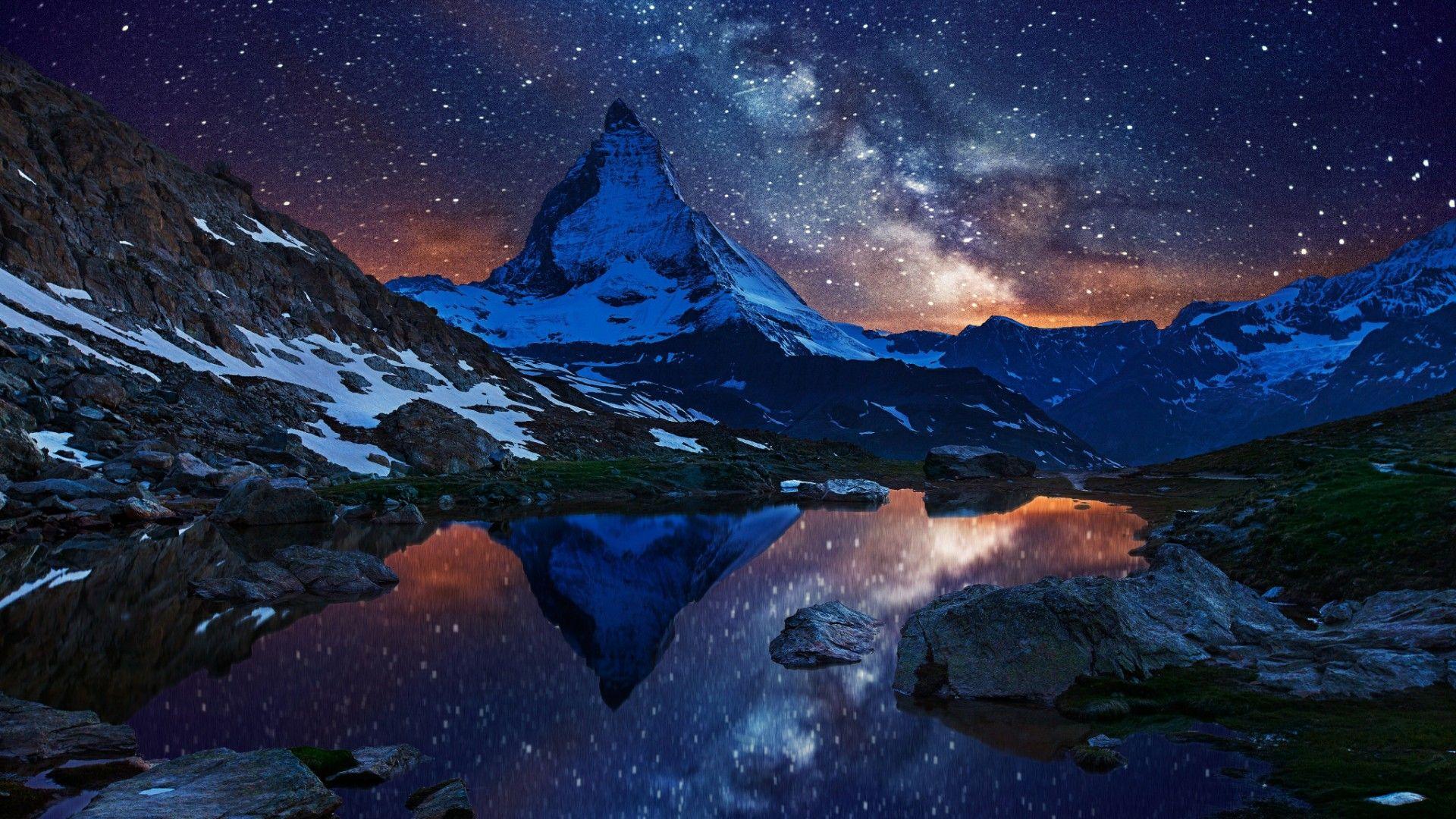 Image Result For Matterhorn Milky Way Switzerland Wallpaper Starry Night Wallpaper Scandinavian Art Print
