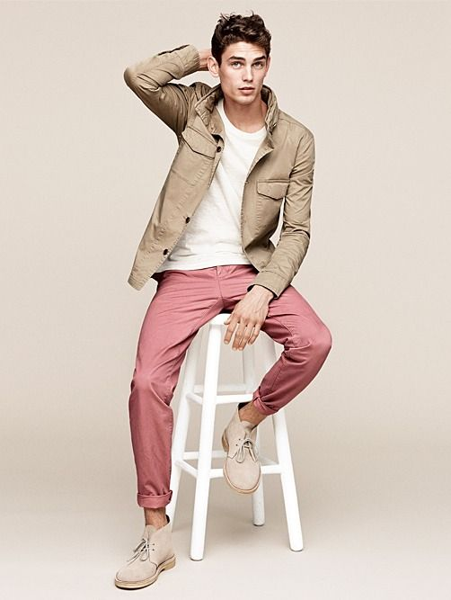 Khaki Field Jacket, White Tee, Brick Chinos, and Tan Chukka Boots ...