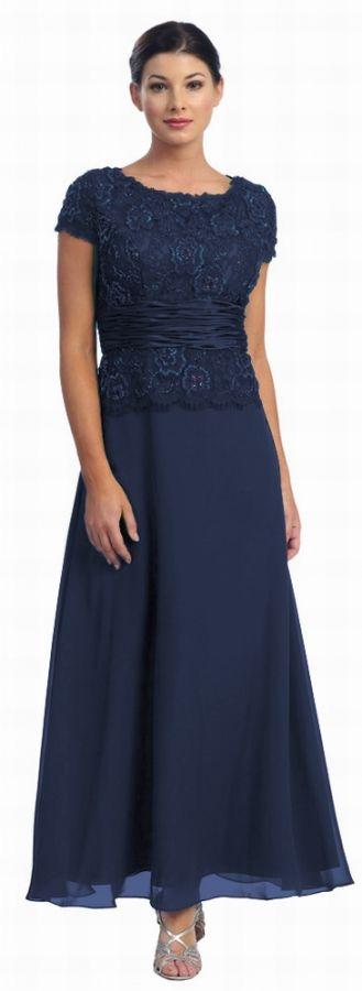 Abendkleid XXL mit Arm Brautmutter dunkelblau Größe: 50 | Kleidung ...