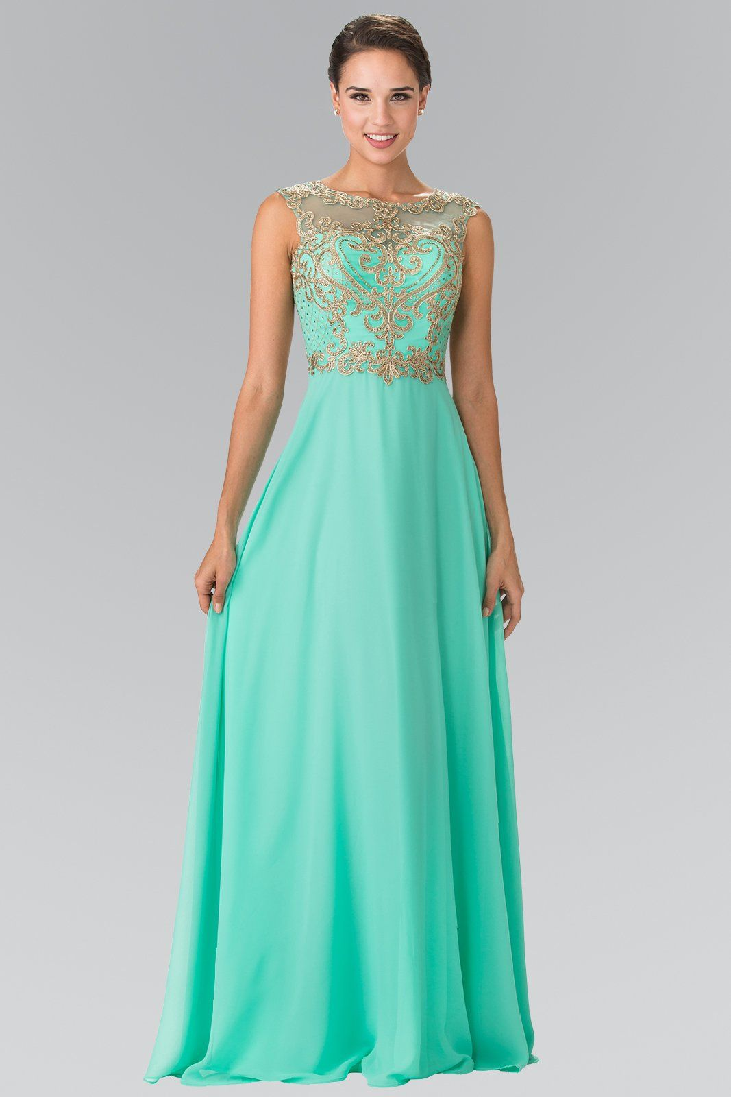 59c979c65ed Style Number  GLS 2316 A-Line Chiffon Gown with Lace Applique Illusion  Bodice Available in Navy