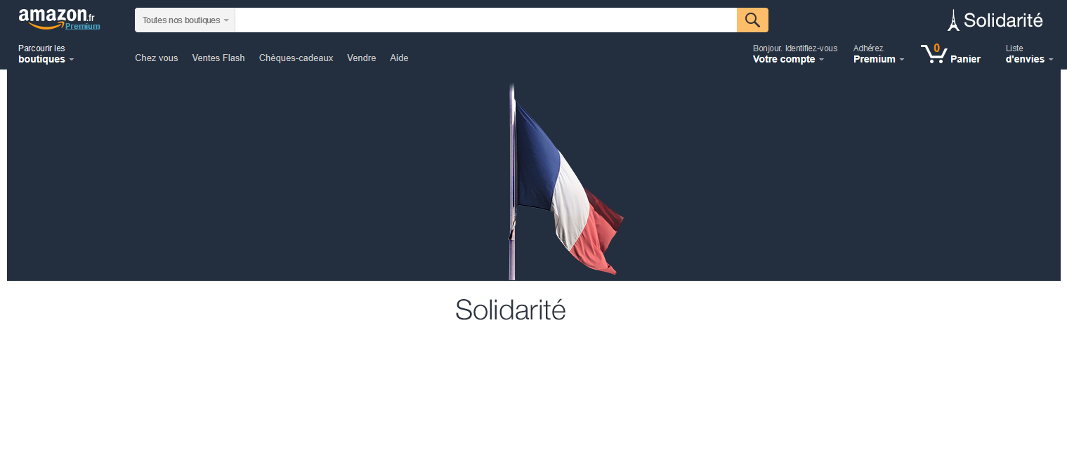 Crisis in Paris - not specifically for Amazon. Here is the front page of amazon.fr one day after the terrorist attacks in Paris on 13.11.2015.