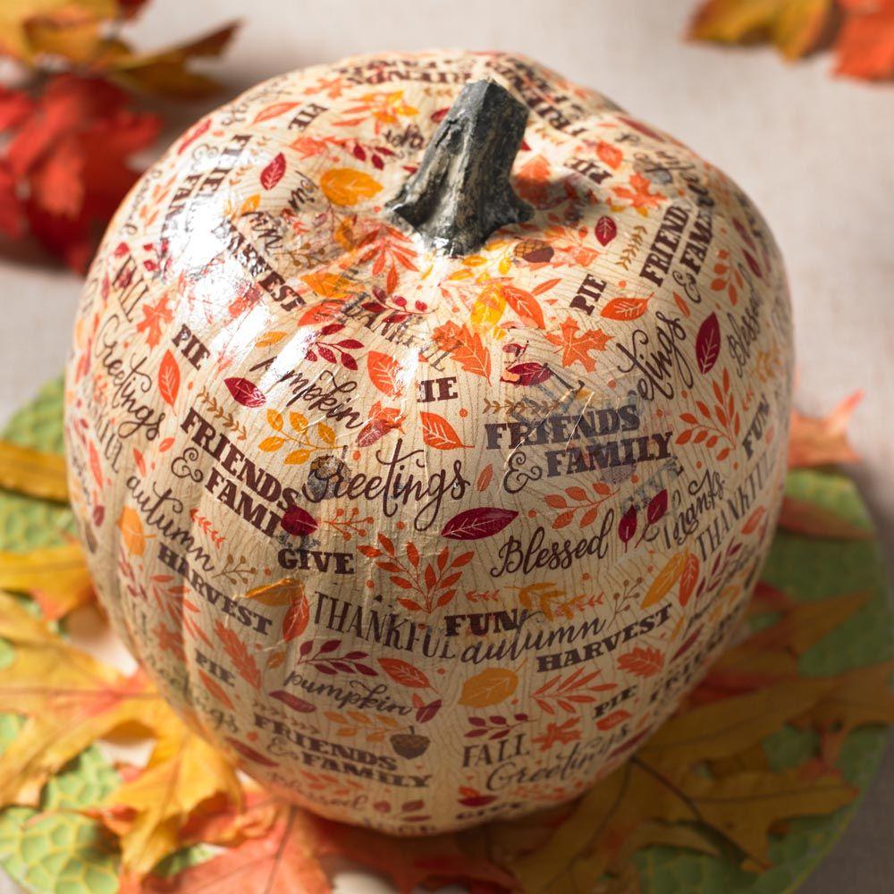Use Napkins to Decoupage a Foam Pumpkin