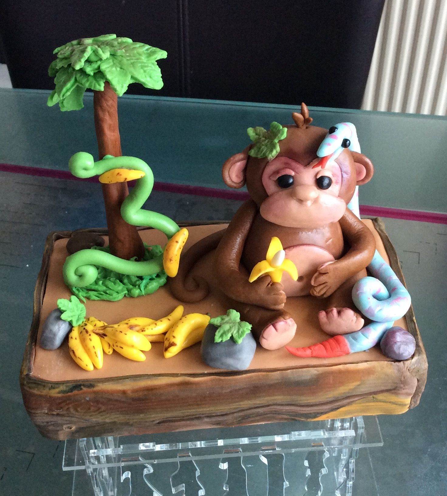 Monkey snake and palm tree birthday cake topper cakes galore monkey snake and palm tree birthday cake topper biocorpaavc Images