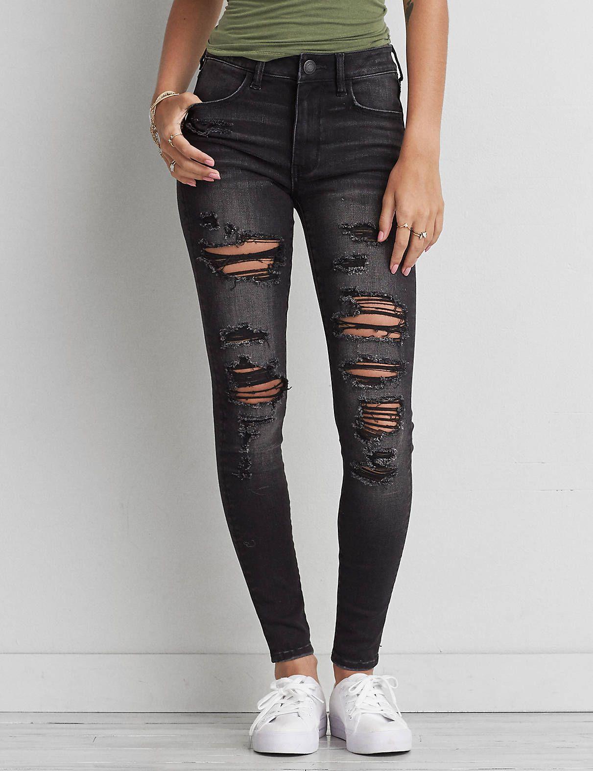 American Eagle Aeo Denim X Hi Rise Jegging In Black Slash 59 95 Cute Ripped Jeans American Eagle Ripped Jeans Black Ripped Jeans
