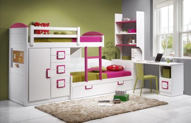 Farbgestaltung Kinderzimmer Ideen Grüne Wandfarbe Weiße Möbel Fuchsia  Akzente | Wohnen | Pinterest