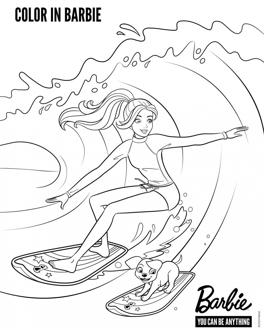 Barbie Surfing Coloring Pages In 2020 Mermaid Coloring Pages Barbie Coloring Pages Coloring Pages