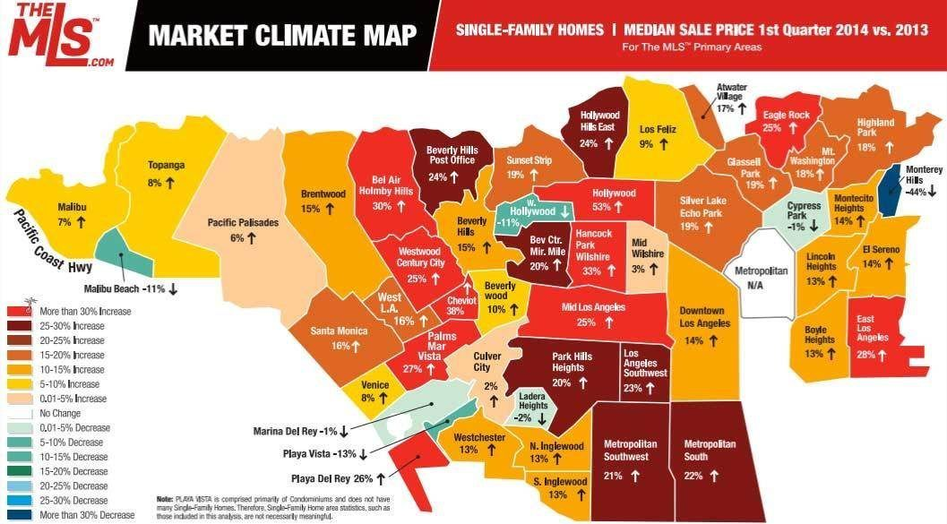 Mapping The Mostly Huge Housing Price Jumps Across La House Prices Map Cheap Houses