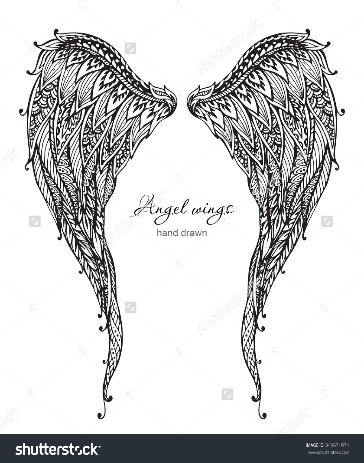 0e951fdcd Vector Hand Drawn Ornate Angel Wings, Zentangle Style. Doodle ...