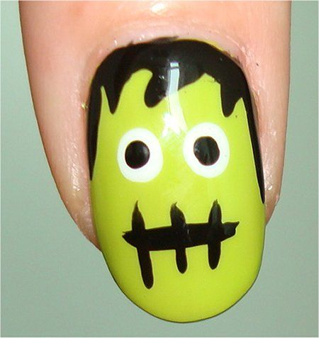 Step By Step Simple Do Yourself Nail Designs Frankenstein Halloween Nail Art Tutorial St Halloween Nail Art Tutorial Monster Nails Cute Halloween Nails