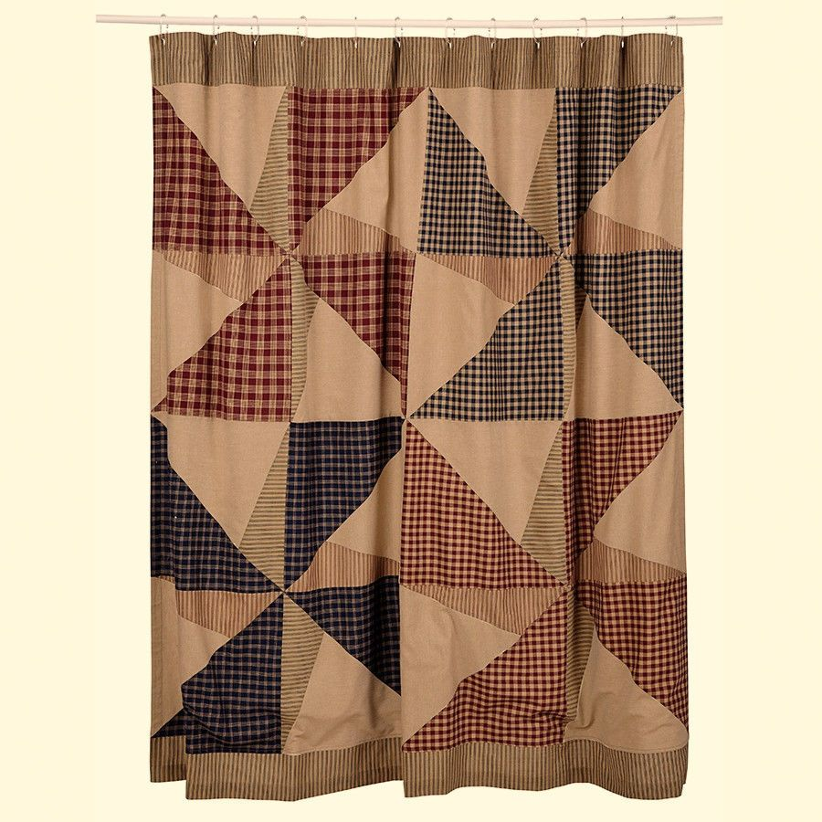 New Primitive Country AMERICANA PINWHEEL FLAG STAR Ticking Shower Curtain #Country