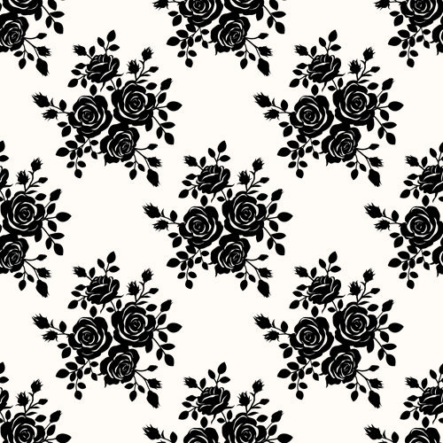 Black roses seamless patterns vector graphics | Seamless ...