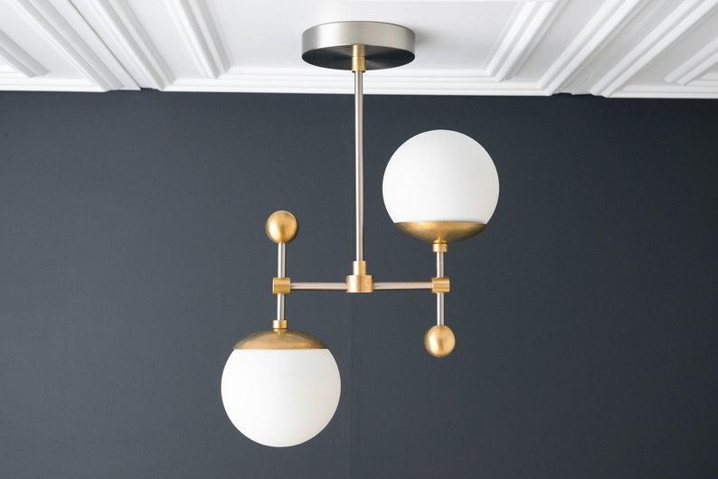 Globe Chandelier Pendant Lighting Brushed Nickel Hanging