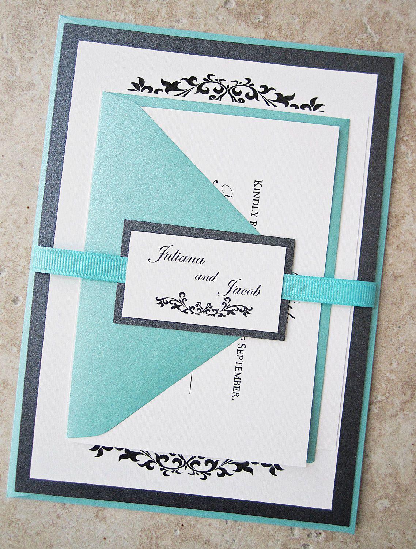 Tiffany Wedding Invitation - Black White Metallic Ribbon Jewelery ...