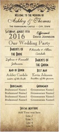 vintage rustic typography wedding programs rustic country wedding