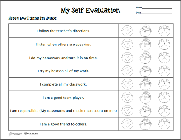 Free Printable of the Week: Self Evaluation Sheet for Parent ...
