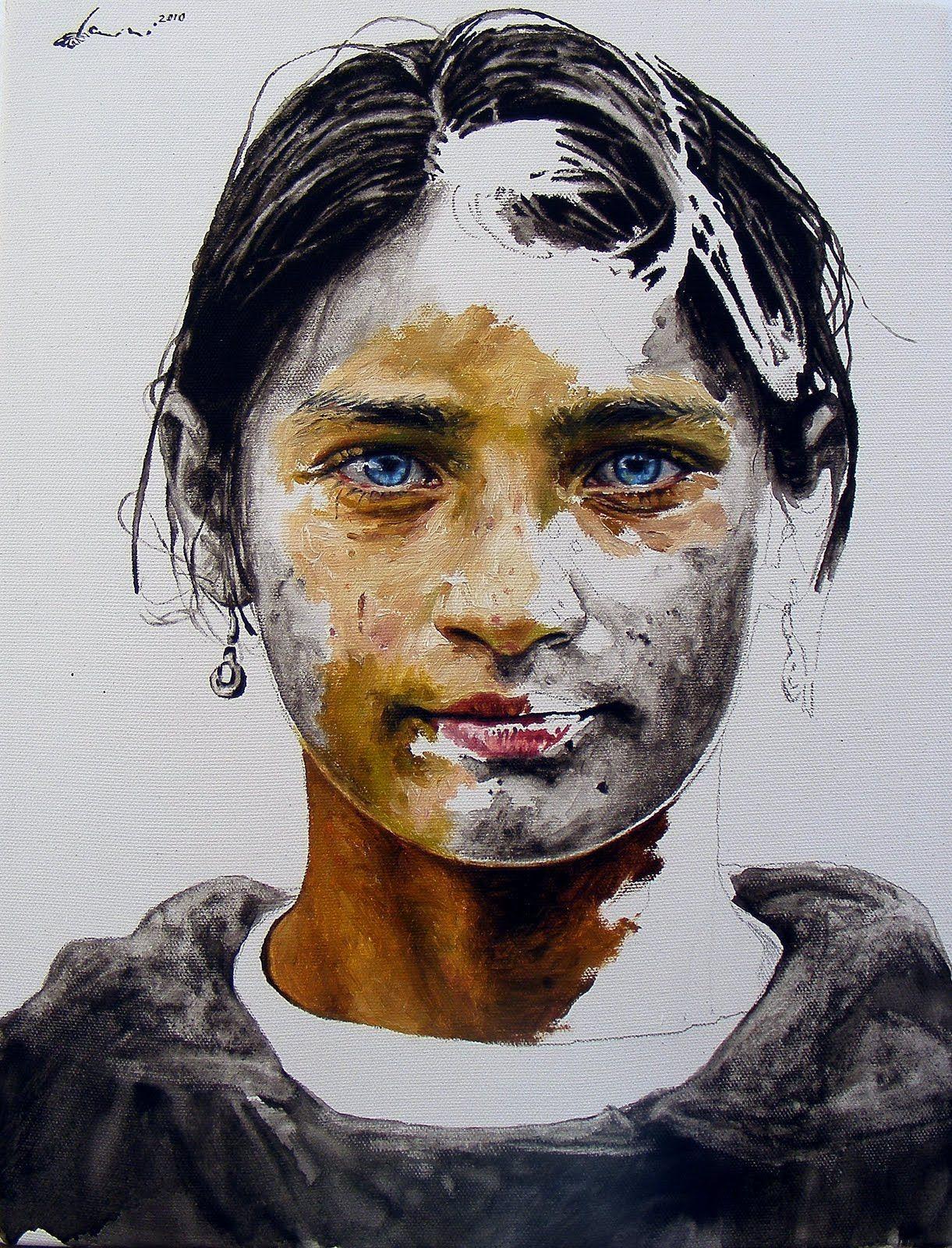 Daniel brici portrait using half color and half black and white