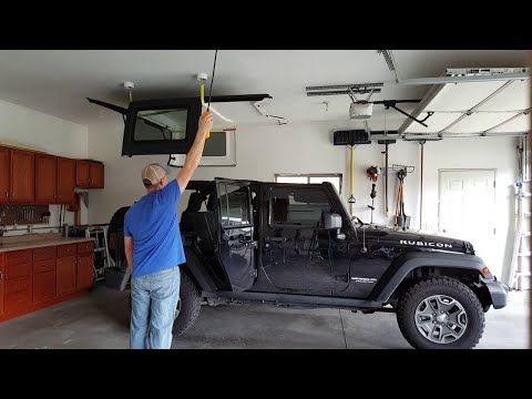 Jeep Wrangler Diy Top Hoist System Youtube Jeep Wrangler Diy Jeep Hardtop Storage Jeep Tops