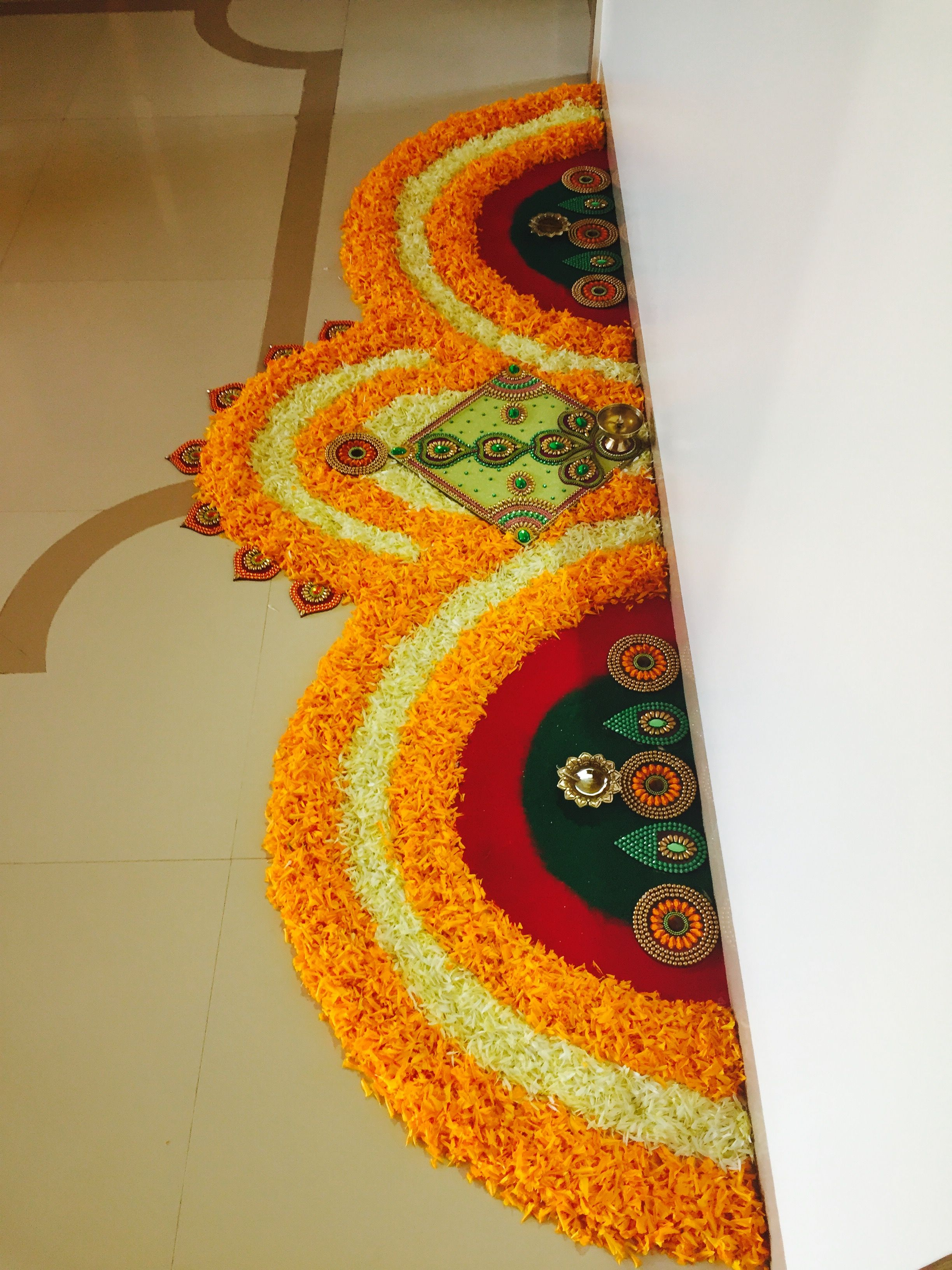 My art Rangoli designs flower, Diwali decorations