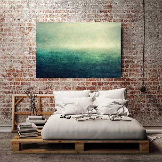 Leinwand Kunst Druck - Moody Ocean - 75x50cm | Foto auf leinwand ...
