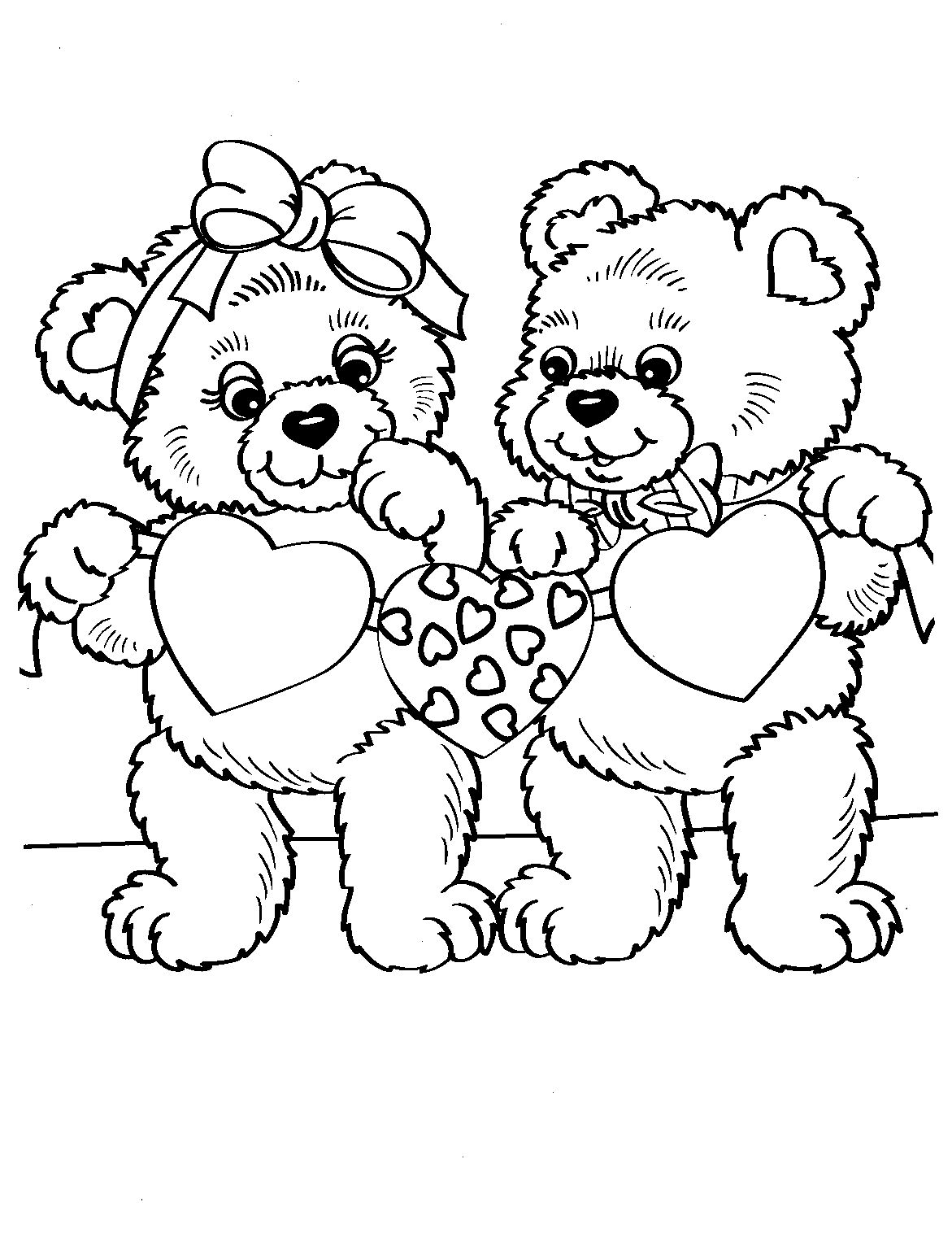 Heart Bears (With images) Valentine coloring pages, Bear
