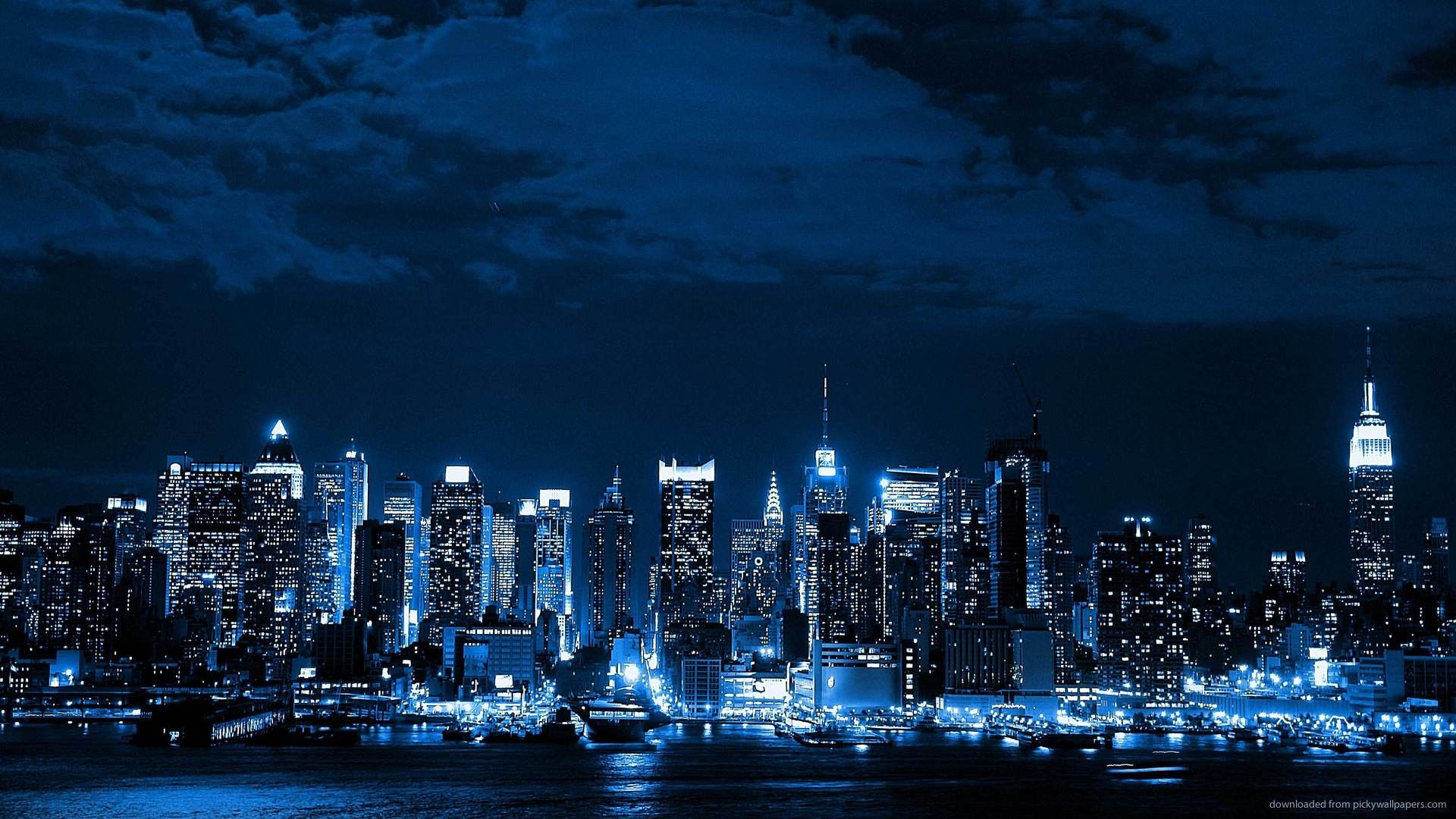 blue cityscapes night lights New York City cities neon