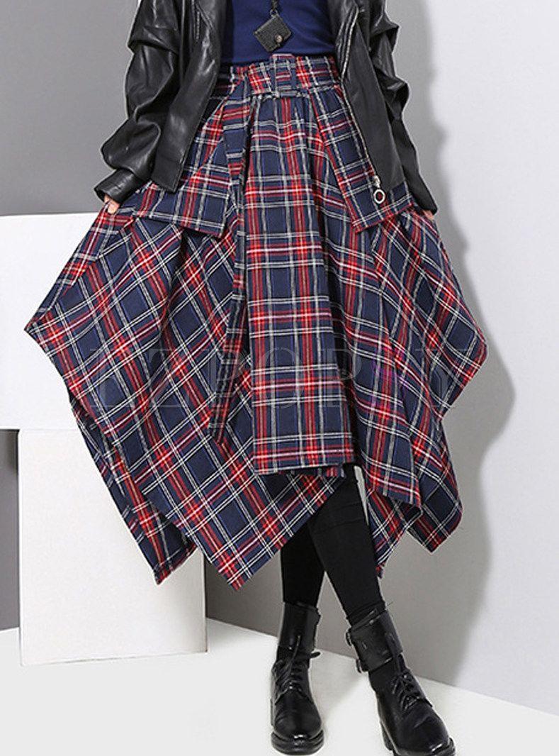 4957bf74f1 High Waist Asymmetric Big Hem Belted Plaid Skirt in 2019   Videos ...