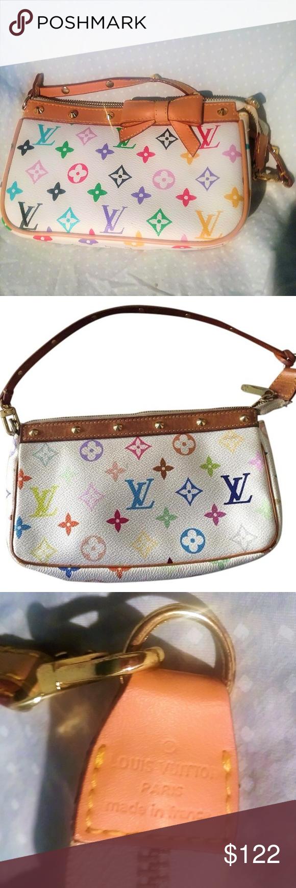 e09e083ef7f2 Louis Vuitton Bow Louis Vuitton Bow Pochette White Murakami Monogram Canvas  Studded Multicolor Leather Louis Vuitton Bags Clutches   Wristlets