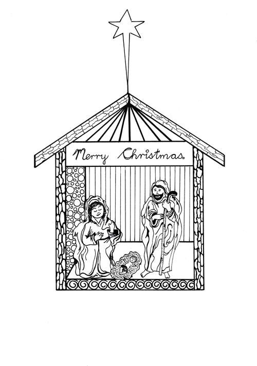Free Printable Nativity Scene Coloring Pages Christmas Coloring