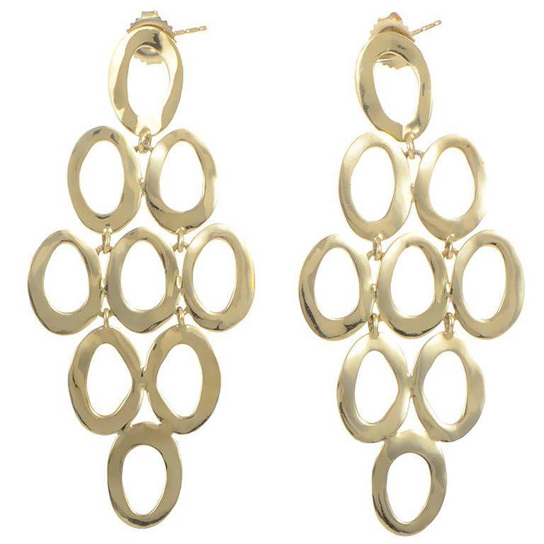 Ippolita Yellow Gold Openwork Dangle Earrings | From a unique collection of vintage dangle earrings at https://www.1stdibs.com/jewelry/earrings/dangle-earrings/