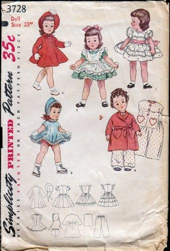 Vintage Doll Clothes PATTERN 7971 for 18 in Winking Winnie Star Bright by Ideal