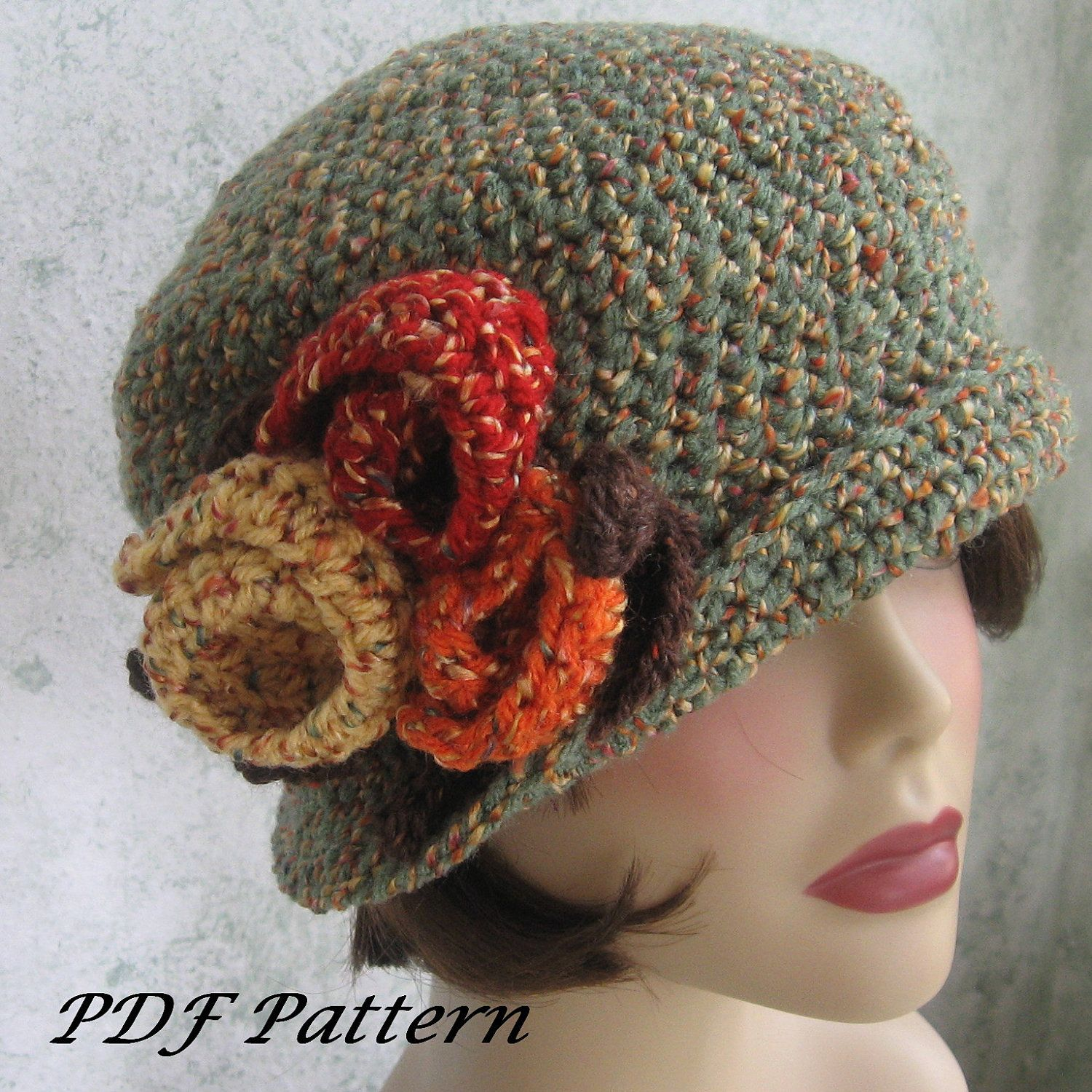 Downton Abbey Knitting Patterns : Crochet Pattern Womens Flapper Hat Downton Abbey Style With Large Flower Trim...