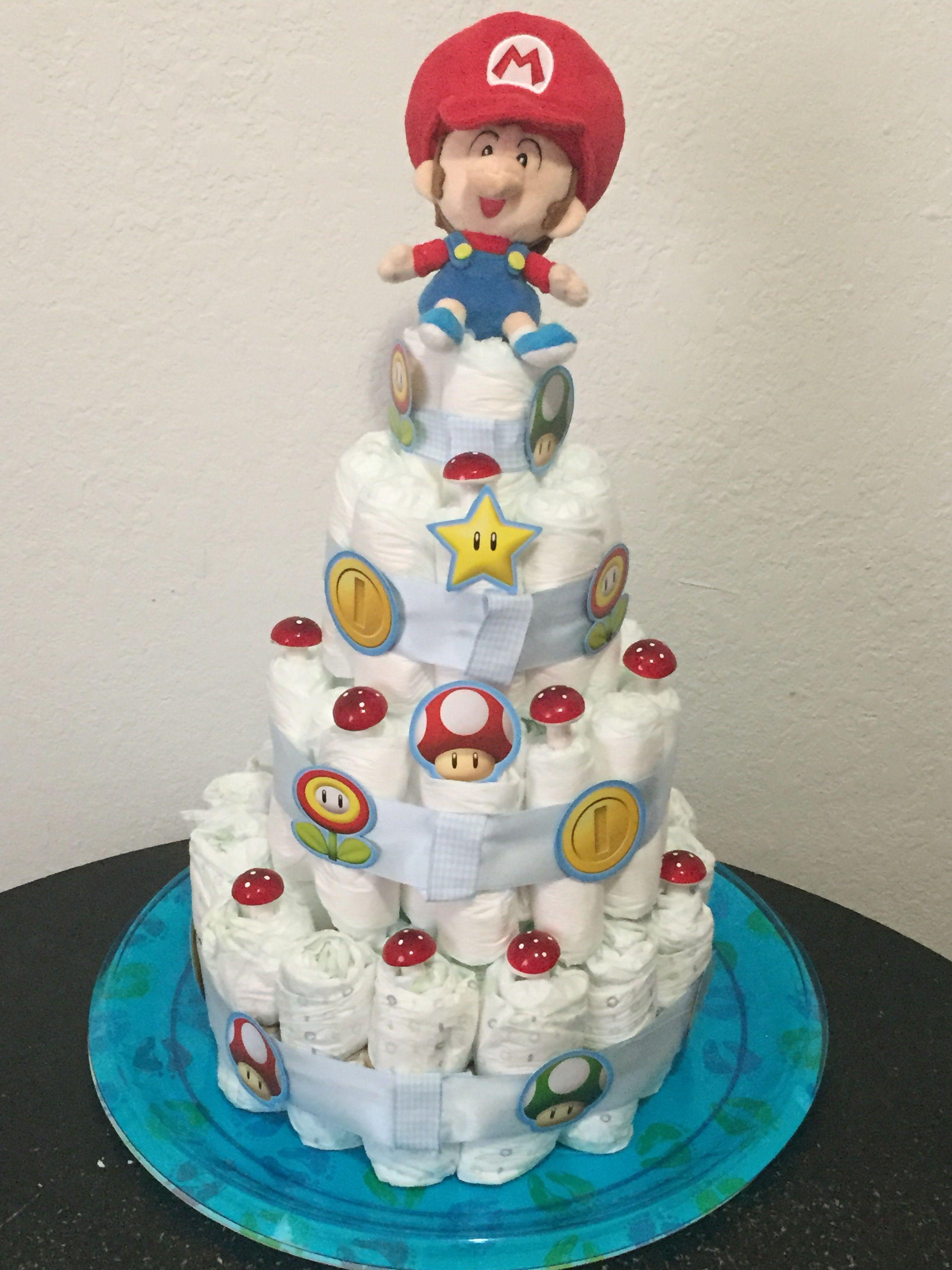 Baby Mario Baby Shower Diaper Cake Super Baby Mario Shower