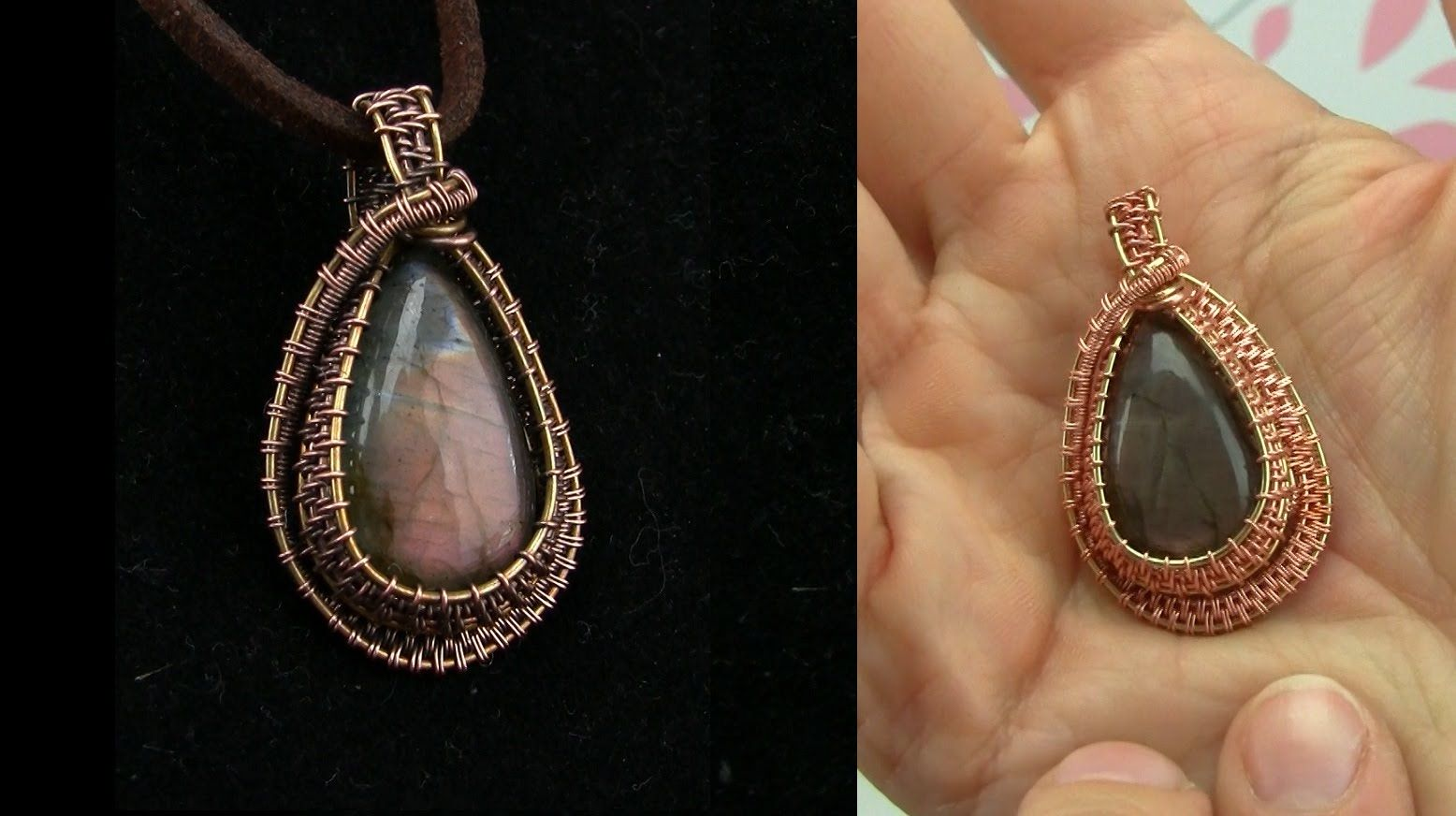 Mixed Metal Cabochon Pendant Wire Wrap Tutorial